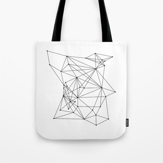 White Geometric Dots and Lines Tote Bag