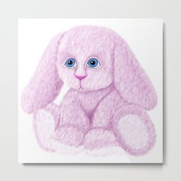 Cute Pink Bunny Rabbit Metal Print