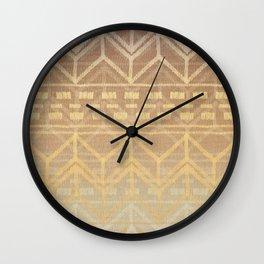 Neutral Tan & Gold Tribal Ikat Pattern Wall Clock