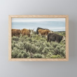 Five Cows Coming Down a Hill Framed Mini Art Print