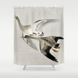 Geese mid flight - Vintage Japanese Woodblock Print Shower Curtain