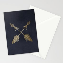 Arrows Gold Copper Bronze on Navy Blue Stationery Cards