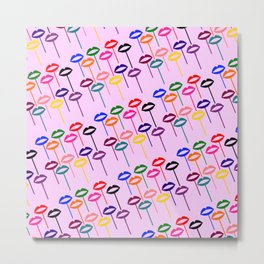 Lips Pops (Multi-colored Lips on Sticks) - Rasha Stokes Metal Print