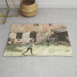 Playful in Nature | Happy Wild Skipping Child Vintage Outdoor Field Rustic Charming Country Farm Rug