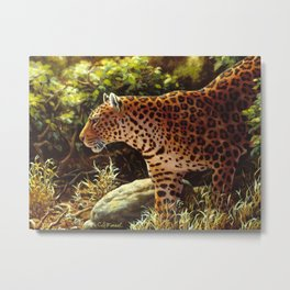 African Leopard Prowling Through The Jungle Metal Print