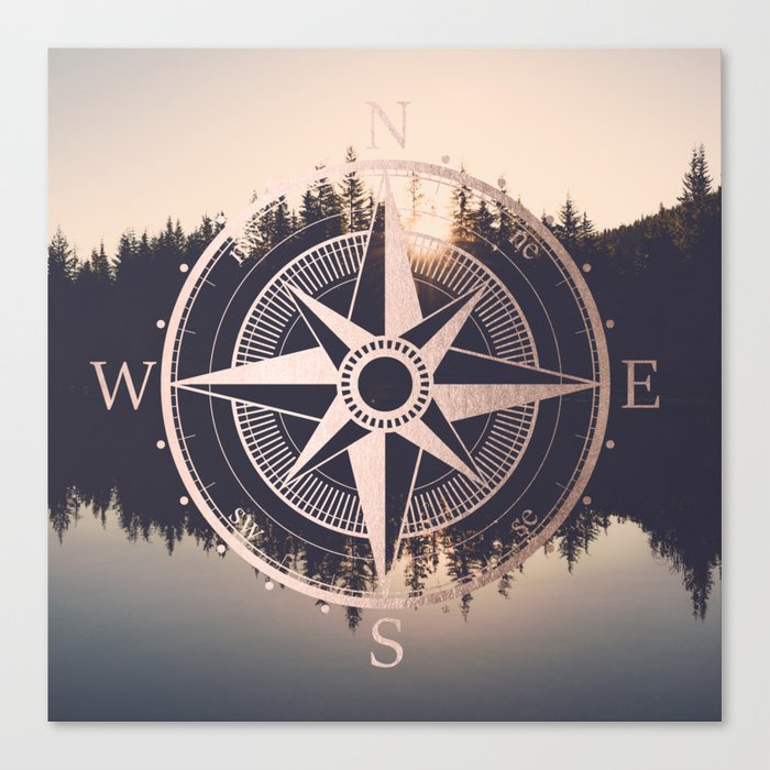 Rose Gold Compass Forest Canvas Print