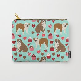 English Bulldog valentines day dog breeds gifts for dog lovers custom pet portraits Carry-All Pouch
