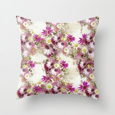 Worn Wood and Wild Flowers Throw Pillow