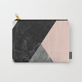 Black and White Marbles and Pantone Pale Dogwood Color Carry-All Pouch