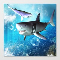 shark Canvas Prints featuring Shark by nicky2342