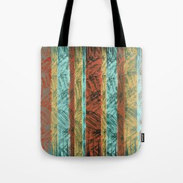 Tribal Scratch Stripes Orange Turquoise Straw Yellow Tote Bag