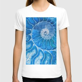 Blue colored Ammonite fossil T-shirt