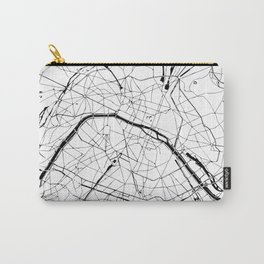 Paris France Minimal Street Map - Black and White Carry-All Pouch
