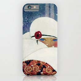 Woman in a New York Snow haute couture art deco portrait iPhone Case