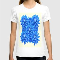 blankets T-shirts featuring Decorative  Opulent Baby Blue Dahlia Flowers Art Work Design by SharlesArt