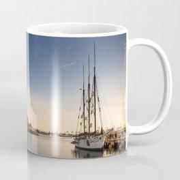 Sailboat moored in Rainbow Harbor, Long Beach - CA Coffee Mug