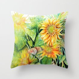 Colorful Sunflowers Throw Pillow