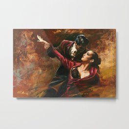 """Tango, Dancers"" romantic portrait painting by Alim Adilov Metal Print"