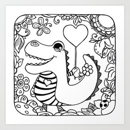 Stripy Cuties - Croco Art Print