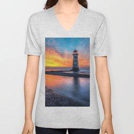 Lighthouse Sunset  Unisex V-Neck