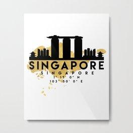 SINGAPORE SILHOUETTE SKYLINE MAP ART Metal Print