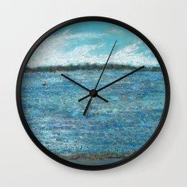 Bayside Oil Pastel Drawing 1 Wall Clock