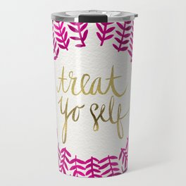 Treat Yo Self – Pink & Gold Travel Mug