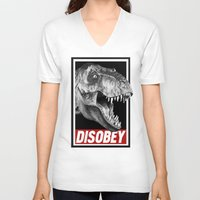 jurassic park V-neck T-shirts featuring Jurassic Park T Rex Disobey  by Spyck
