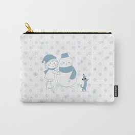 Happy snowman and a dog Carry-All Pouch