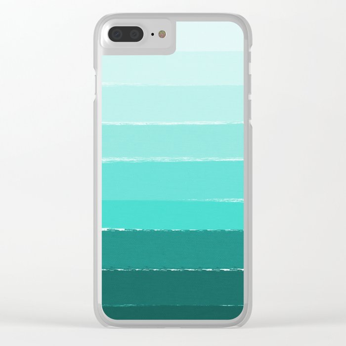 Ombre brushstrokes modern minimal ocean abstract painting wall art Clear iPhone Case