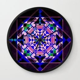 Purple, blue shapes and paterns Wall Clock
