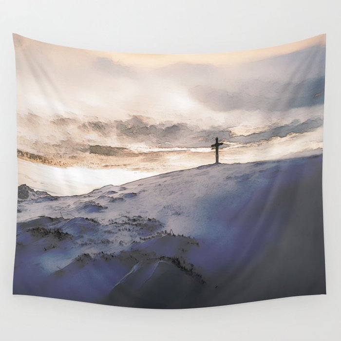 Christian Cross On Mountain Wall Tapestry