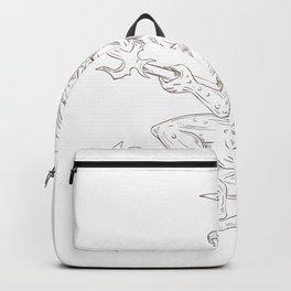 Demon Holding Pitchfork Drawing Backpack