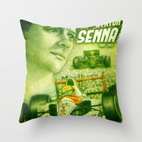 senna Throw Pillows featuring Ayrton Senna Tribute by TheToonPlanet