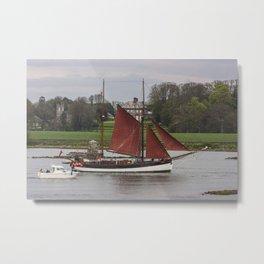 Tall Ship Ruth, passing Bealieu House, River Boyne, Drogheda, Louth, Ireland Metal Print