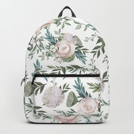 Pastel pink peonies with green leafs pattern Backpack