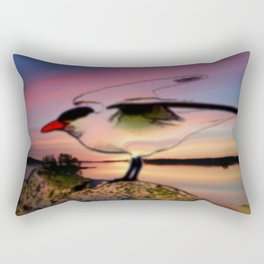 Sunset Take-off - Gull Painted with Sunset Colors Rectangular Pillow