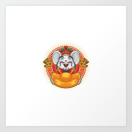 Gong Xi Fa Cai Mouse Holding Big Gold Money Art Print