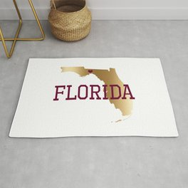 Florida Gold and Garnet with State Capital Typography Rug