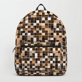 Beige, white, black, brown mosaic. Backpack