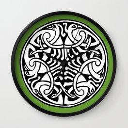 Celtic Art - Interlaced Birds - on Green Wall Clock