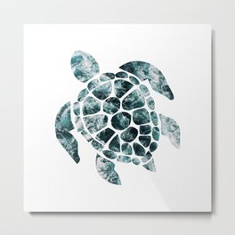 Sea Turtle - Turquoise Ocean Waves Metal Print
