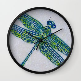 Dragon Fly Marble Original Art By Catherine Coyle Wall Clock