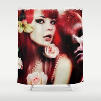 melissa smith Shower Curtains featuring Melissa by Florian Ruocco a.k.a AKSHOBHYIA