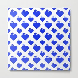 Crown Heart Pattern Blue Metal Print