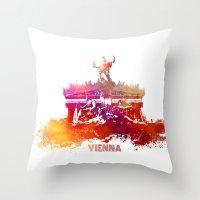 vienna Throw Pillows featuring Vienna skyline by jbjart