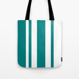 Mixed Vertical Stripes - White and Dark Cyan Tote Bag