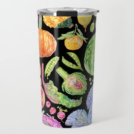 Rainbow of Fruits and Vegetables Dark Travel Mug