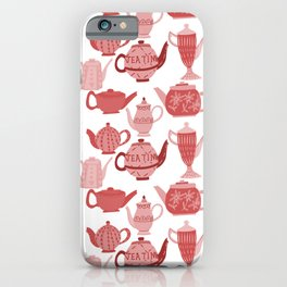 Vintage Tea Pots Time for Tea Red and Pink on White Art iPhone Case