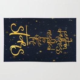 Darkness-Stars - sparkling night gold glitter effect typography on #Society6 Rug